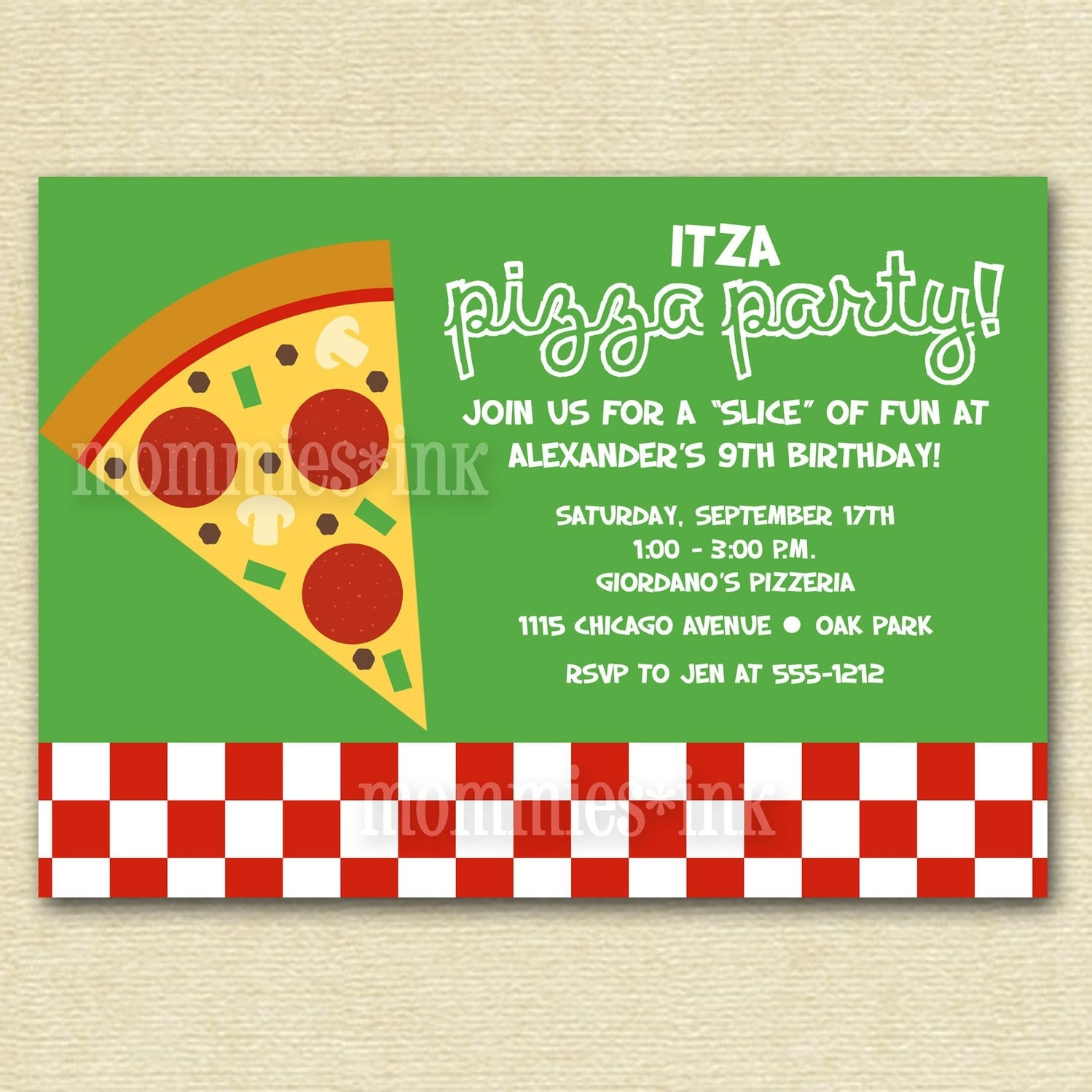 Pizza Party Birthday Invitation PRINTABLE by MommiesInk on Etsy