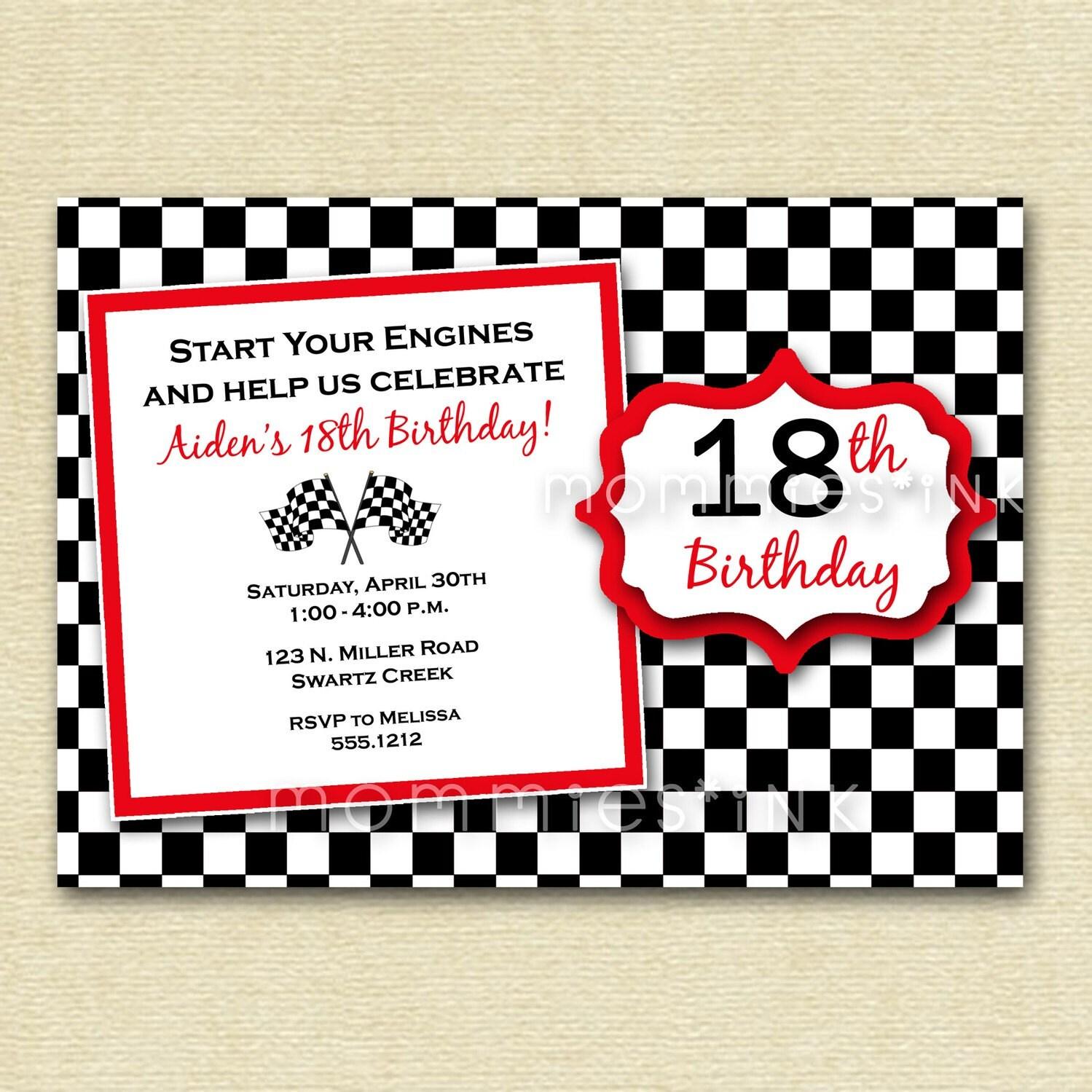 Checkered Flag Birthday Party Invitation PRINTABLE