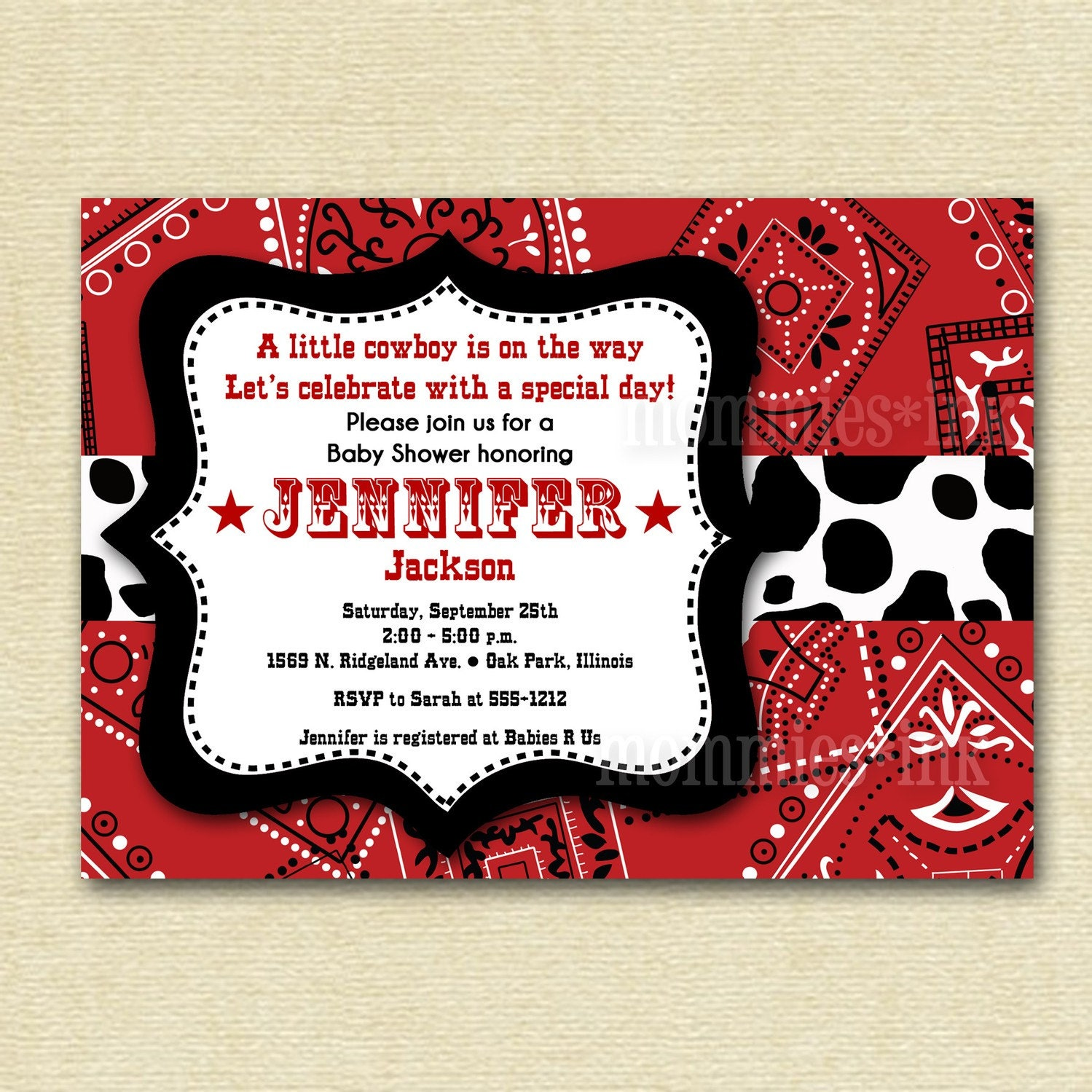 western cowboy bandana baby shower invitation by mommiesink