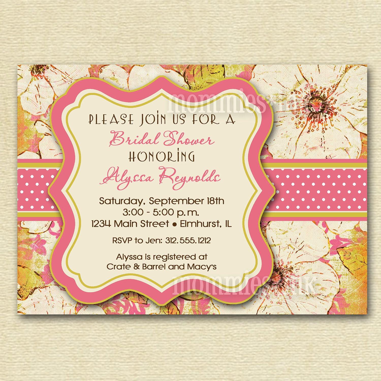 Bridal shower invitation bridal shower invite vintage blooms for Classic bridal shower invitations