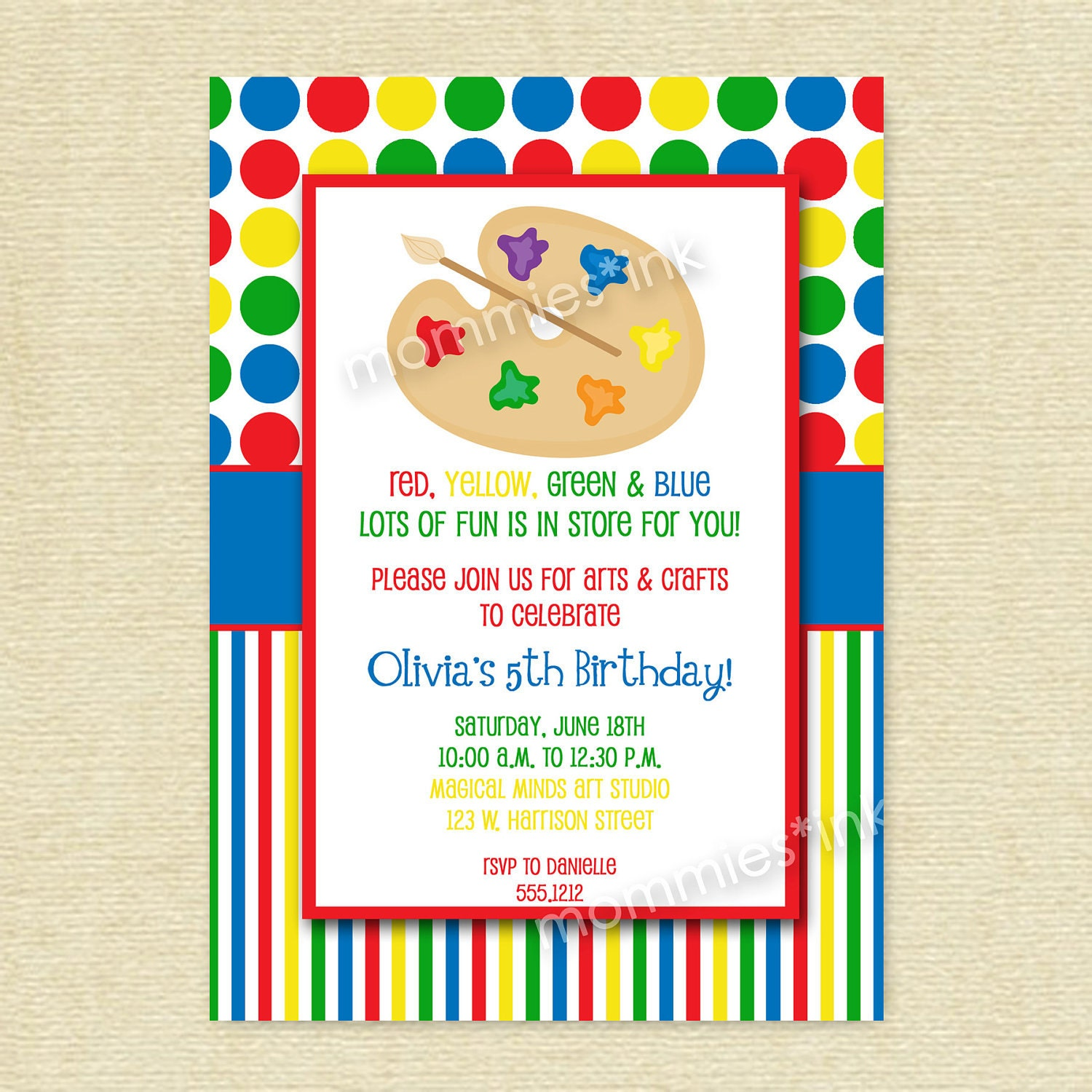 Arts And Crafts Birthday Party Invitation Art Party By