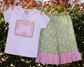 Sale...Bunny Easter Capri Ruffle Pants...Ready for Delivery...Available in Sizes 12m, 3 and 4