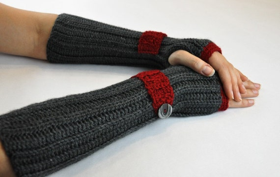 Arm Warmer Fingerless Glove Charcoal Gray