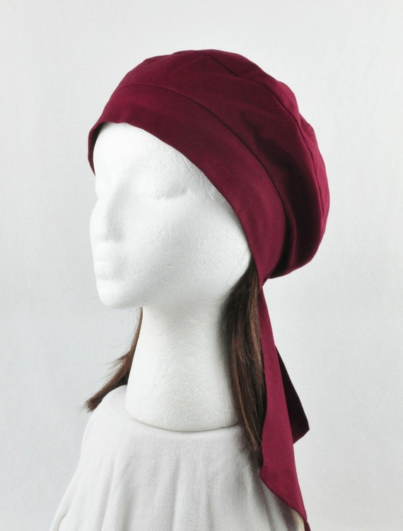 Headwrap  Beret Tam - Cancer Chemo Cap for Hair Loss and Alopecia- Cranberry Cotton Fabric