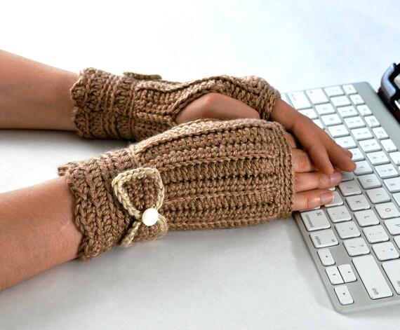 Fingerless Glove Wrist Warmer Gauntlet Sable Brown