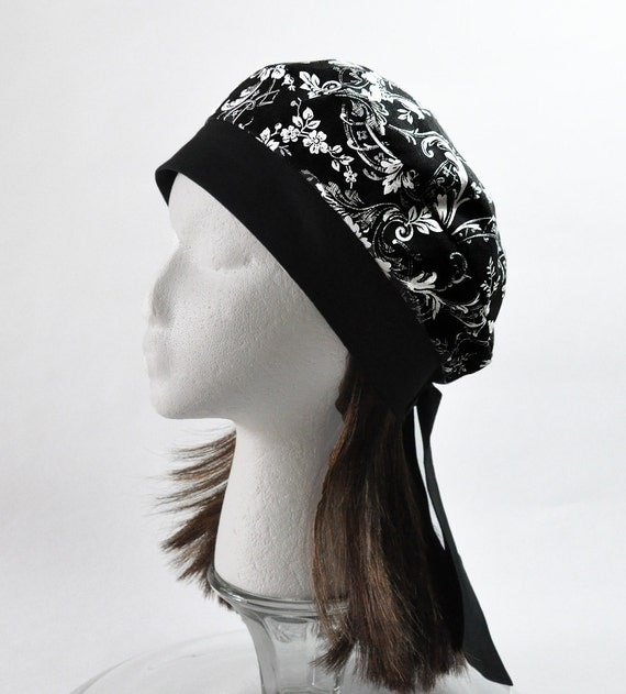 Headwrap Beret Tam - Cancer Hat Chemo Cap for Hair Loss and Alopecia- Black White Print