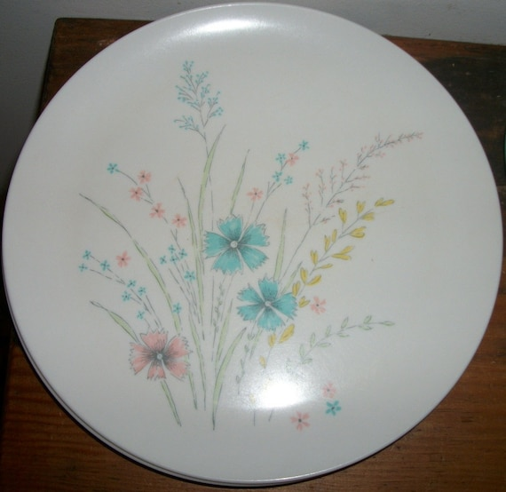 Set of 6 Floral Themed Melmac Dinner Plates by Marcrest