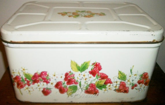 Strawberry Patterned Shabby Chic Metal Bread Box
