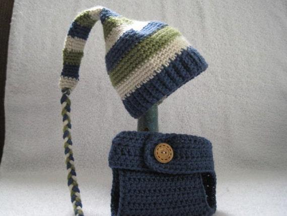 New born Stocking Hat w/ Diaper Cover /Blue/ Green/Cream/ Ready To Ship