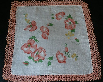 Beautiful Floral Cotton Batiste Handkerchief with Coral Edging Vintage