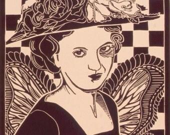 Vintage Mid Century Fashion- Woman Angel- Original Linocut Print- 11 x 14 inch 28 x 35 cm