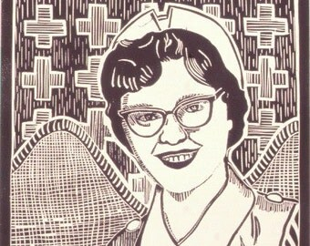 Vintage Nurse Linocut- SALE- Cousin Diane- Retro Angel of Mercy- SALE- 8 x 10 image