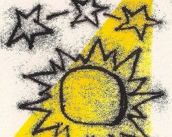 Woman Monotype Prints- Sun Stars- Set of 2- 4 x 6 inch    7 x 10 cm