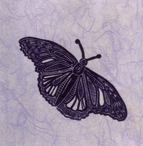 "Butterfly Linocut Print- Asian Elegant- Modern Original Art- 6""x 6"" Archival Japanese paper"