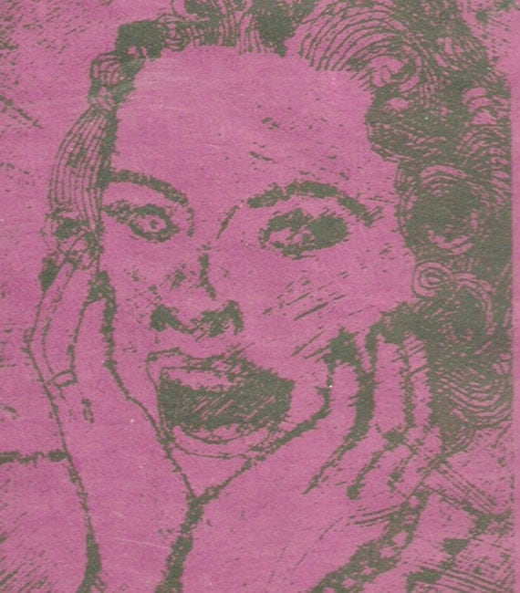 Goth Scary Art- Midcentury Housewife- Collograph Print- 6 x 8 inch  15 x 20 cm