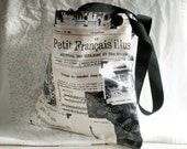 Reusable shopping bag tote in waterproof french newsprint fabric