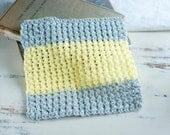 Crochet wash cloth, cotton dish rag, gray n yellow dish cloth