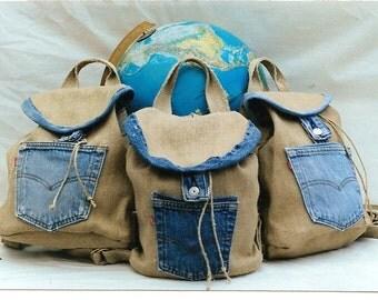 Hemp and Recycled Denim Handmade Backpack Rucksack, Pack, Knapsack