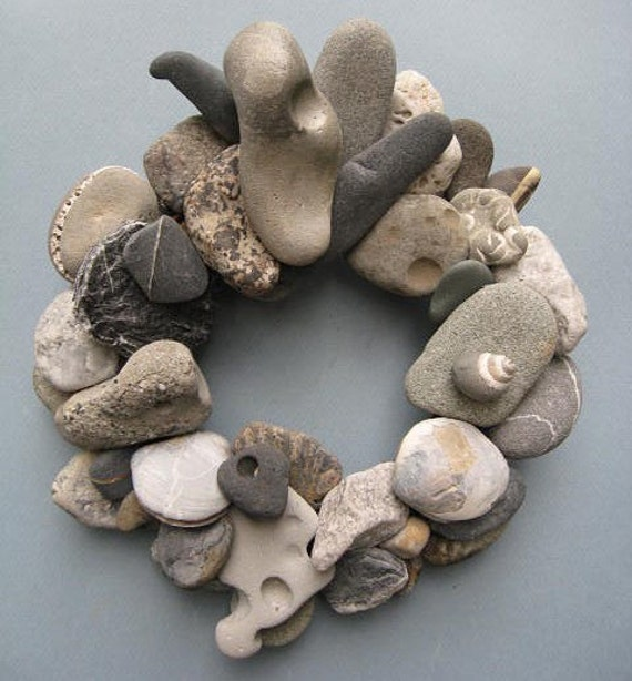 Gray White and Black Rock Wreath With Shell Fossils or Candle Ring (RW64)