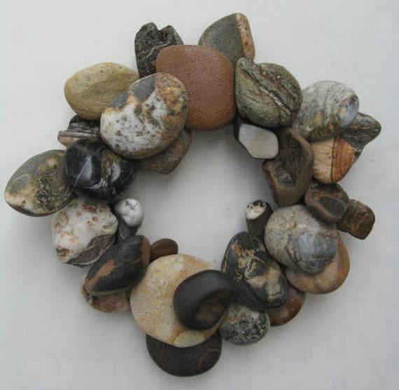Earth Tone Rock Wreath or Candle Ring (RW189)