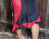 HaLloWeeN SALE Super Sexy peek-a-boo Skirt (M/L) upcycled recycled-READY TO SHIP Free Shipping