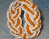 White and Orange Turks Head Sailor Knot Bracelet medium