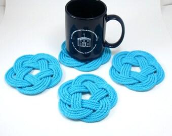 Nautical Turquoise Rope Coaster Woven Nautical Knot 100% Cotton Braided Coasters