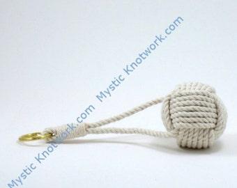 Floating Nautical Keychain White Cotton Monkey Fist