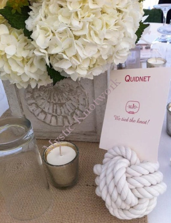 Nautical Wedding Card Holders 4 Pack of white Monkey Fist Knots