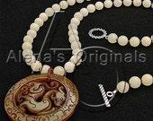DRAGON WHEEL Necklace, Bones Style Jewelry, Sterling Silver, Jade, Yellow, Pendant, Asian, Carved, Long, Emily Deschanel, Nancy Morris