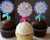Set of 12 Boy or Girl Baby Shower Cupcake Toppers