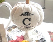 Personalized Hand-Crafted Fabric Embroidered Monogrammed Beige Pumpkin