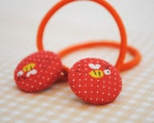 Pixie Button Hair Elastics - Tangerine Red