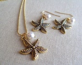 Starfish and Swarovski Pearl Necklace and Earrings set, Bridal Party Jewelry, Bridesmaid gift, Bridal, Beach Wedding, Jewelry Set