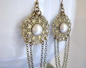 Bridal Earrings, Bridesmaids Earrings, Goddess Antiqued Brass Filigree and Pearl Dangle Earrings, Wedding, Party, Gift Present