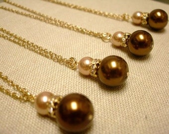 Bridesmaids Necklaces set of 4, Chocolate Brown and Champagne Gold Glass Pearls Necklaces, bridal party gift, Fall wedding, Party favor