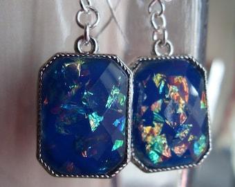 Opal in Deep Blue Sea  Earrings, bridesmaids earrings, Birthday gift, Thank you gift for teacher, Summer Earrings, something blue earrings