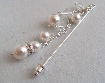 Swarovski Crystals and Pearls Dangle Hijab pin, Shawl pin, Scarf pin, Wedding, Bridesmaids gift, Ramadan Eid Gift, Birthday Party Favor,