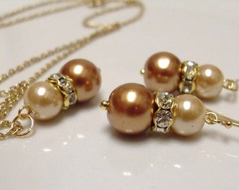 Burnt Orange and Champagne Gold Glass Pearls Earrings and Necklace set, wedding party, Bridesmaids gift, bridal party, Fall Autumn Wedding,