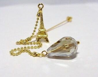 Eiffel Tower and Teardrop Crystal Dangle Hijab pin, Scarf pin, Shawl Pin, Gift, Paris, France, Gold, Scarf pin, Shawl pin holiday gift