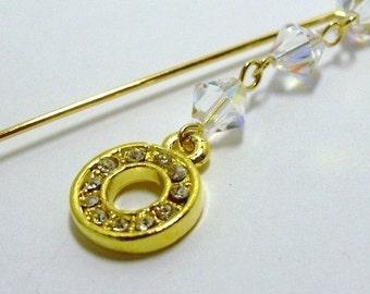 Swarovski Crystal Clear AB and Gold Charm Dangle Hijab Pin Scarf pin, Shawl Pin, Wedding, Bridal Bridesmaids gift, Mother's day gift
