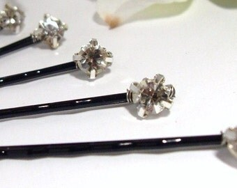 Rhinestone Bobby pins Set of 6 Black pins, Bridal Bridesmaids Wedding Hair pins, flowergirls, Holiday party gift, New Year Eve Party gift