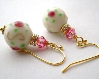 Rose earrings, Rose Garden Swarovski Crystals and Lampwork Glass Beads Earrings PINK, Breast Cancer Awareness, October earrings gift for her