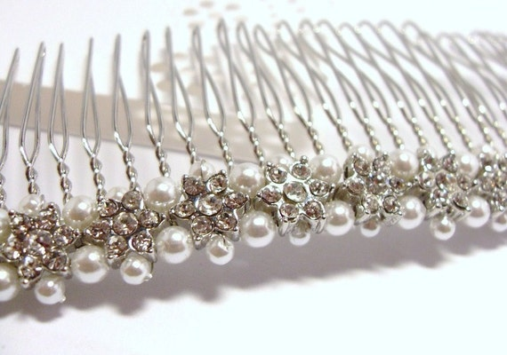 Handwired Hair Comb/ Tiara/ Head piece with Rhinestone Flowers and Pearls, Wedding, Bride, Bridal Party, Bridesmaids, Veil