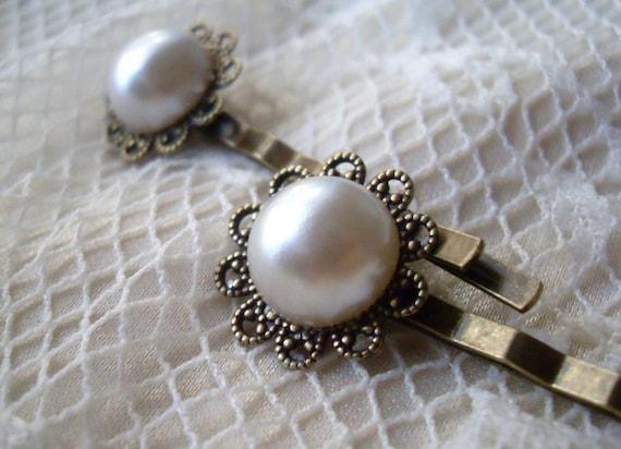 Vintage Style Pearl Bobby Pin, Flower Filigree set of 2, Wedding, Bridal party, Bridesmaids, Flower girl Hair pins, Summer Hair gift present