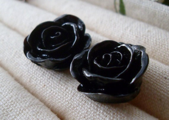 Black Rose Stud Earrings, Bridesmaid earrings, birthday gift, graduation gift, party favor