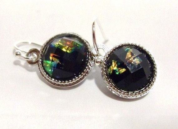 READY to SHIP, Opal in MidNight Sky Earrings, ROUND, Bridesmaids Earrings, Birthday gift Thank you gift, Holiday gift, Black Opal Earrings