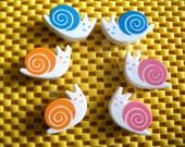 6 Cute Snails Paper Clips