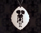 Human Anatomy Conjoined twin skeleton necklace in silver stainless steel - freak show - circus sideshow - science jewelry