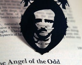 Edgar Allan Poe necklace in black stainless steel - gothic horror literary jewelry